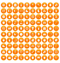 100 apple icons set orange vector