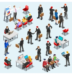 Business Data Set Isometic People vector image vector image