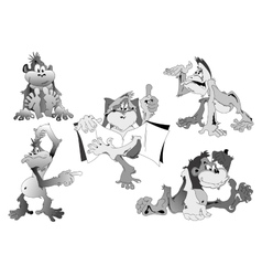 Cartoon monkey in 5 different poses vector image