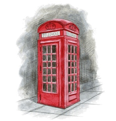 English telephone box drawn by hand vector image