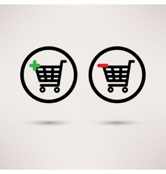 Shopping cart icons Plus and minus signs set vector image