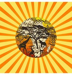 African Sunburst symbols background vector image