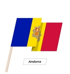 Andorra Ribbon Waving Flag Isolated on White vector image vector image