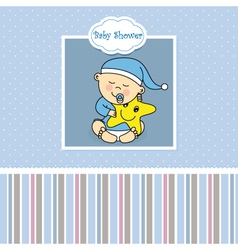 Baby boy birth card vector image vector image