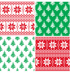 christmas pattern cross stitch collection winter vector image vector image