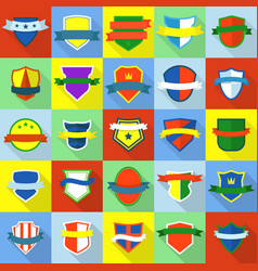 shield badge icons set flat style vector image vector image