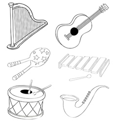 Silhouettes of the different kinds of musical vector image