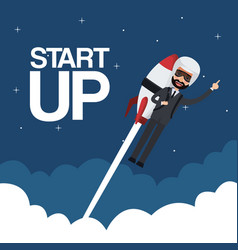 cloud landscape background star up business man vector image