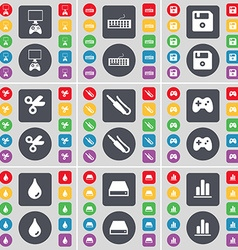 Game console Keyboard Floppy disk Scissors vector image vector image