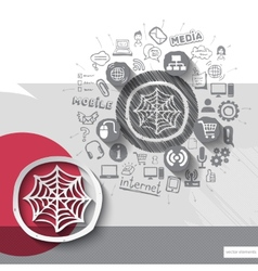 Hand drawn net icons with icons background vector image