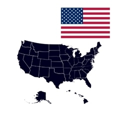 US states in the map of America vector image vector image