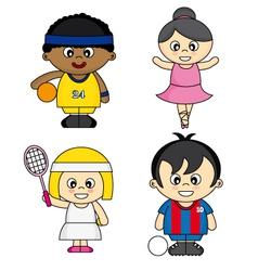 Children dressed as athletes vector image vector image
