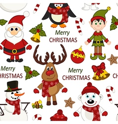 Christmas seamless pattern with Santa penguin deer vector image vector image