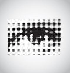 human eye black and white halftone vector image vector image