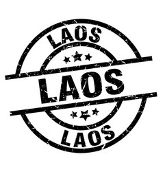 laos black round grunge stamp vector image vector image