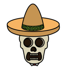 mexican mariachi skull character vector image vector image