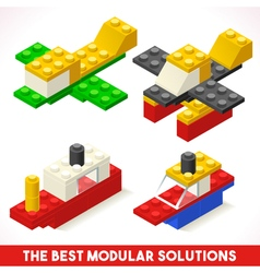 Toy Block Ship Plane Games Isometric vector image vector image