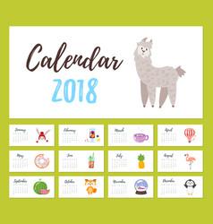 2018 year calendar vector