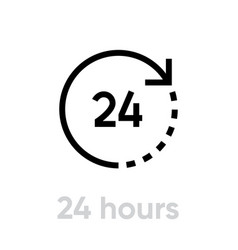 24 hours icon editable line vector image