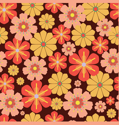60s 70s retro vintage flowers seamless vector