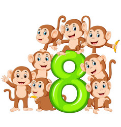 8 jelly number with so many monkey on it vector image