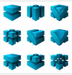 abstract isometric cubes geometric isolated set vector image