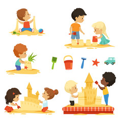 Active kids playing in sandbox happy vector