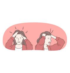 Anger rage headache concept vector