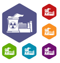 Atomic reactor icons hexahedron vector