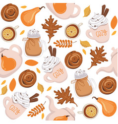 Autumn seamless pattern background with yellow vector