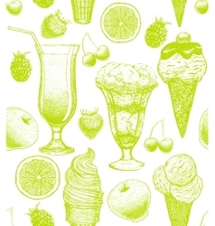 Background with ice cream and fruits vector