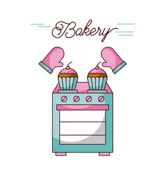 Bakery oven appliance cupcakes and potholders vector
