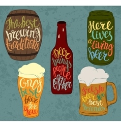 Barrel of beer and can bottle pint glassware vector image