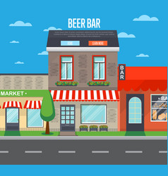 Beer bar banner in flat design vector