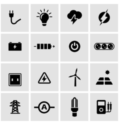 black electricity icon set vector image