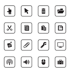 Black flat computer and technology icon set vector