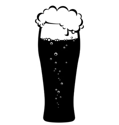 black glass of beer vector image