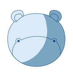 Blue color shading silhouette faceless of hippo vector