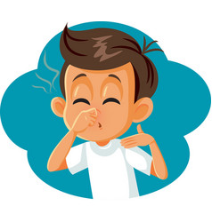 Boy pinching his nose covering bad smell vector