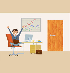 businessman sitting by desk in office workplace vector image