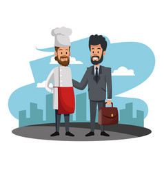 Businessman with chef cartoons vector