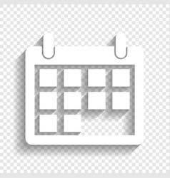 Calendar sign white icon vector