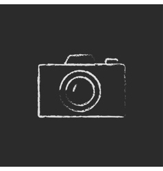 Camera icon drawn in chalk vector image