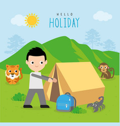 camping forest summer trip travel vacation vector image