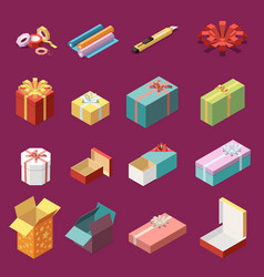 cardboard gift boxes isometric set vector image