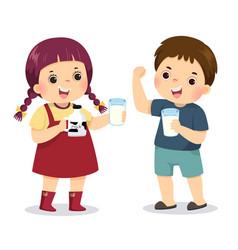cartoon boy and girl drinking milk vector image