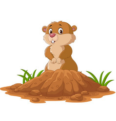 cartoon funny groundhog standing outside its burro vector image