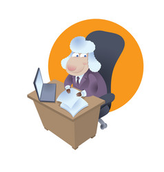 Cartoon sheep sits at office desk in business suit vector