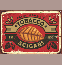 Cigars and tobacco vintage tin sign vector