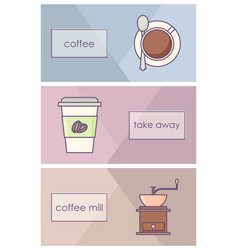collection coffee icons vector image